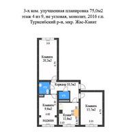 Трехкомнатная квартира ЖК Жас-Канат Турксибский р-н