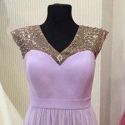 Лиловое вечернее платье длинное