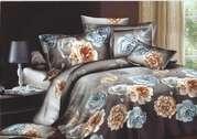 ПК 3D бамбук,  Семейный,  серо-коричневые рози и пионы