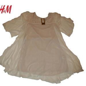 Новое женское платье H&M,  полиэстер,  цвет: белый,  размер 46-48