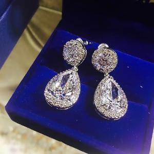 Свадебные сережки с цирконом в Алматы