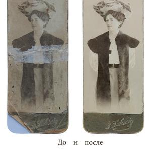 Работы в фотошопе,  реставрация старых фотографий,  коррекция.
