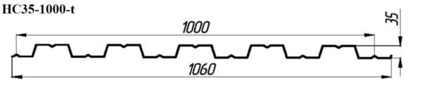 Профнастил НС35-1000-t (кровельный) 3