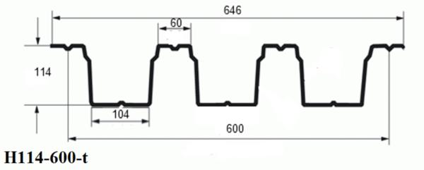 Профнастил Н114-600-t (кровельный) 3