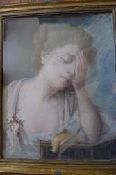 Девушка,  18 век,  Пастель на коже
